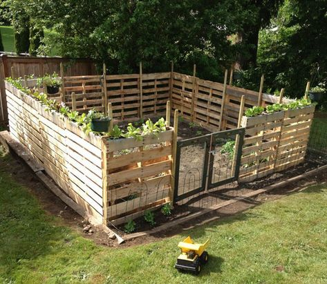 Building a pallet fence could very well be one of the fastest and most cost-effective ways to meet your fencing needs. Pallet fences are simple and cheap! # pallet garden ideas 12 Impressive Pallet Fence Ideas Anyone Can Build - Off Grid World Pallet Privacy Fences, Wood Pallet Fence, Pallet Coop, Pallet Barn, Pallet House, Pallet Patio Decks, Pallet Potting Bench, Privacy Screen Deck, Wood Pallet Planters