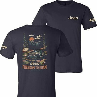 Details About Mens Jeep Freedom To Roam T Shirt Navy Blue In