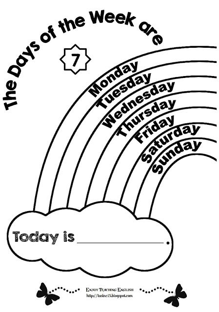 Days Of The Week (coloring Worksheets) English Worksheets For Kids,  Worksheets For Kids, Preschool Learning