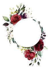 Card. Watercolor invitation design with burgundy and red roses, leaves. flower, background with floral elements , botanic watercolor illustration. Vintage Template. wreath, round frame - Buy this stock illustration and explore similar illustrations at Adobe Stock | Adobe Stock