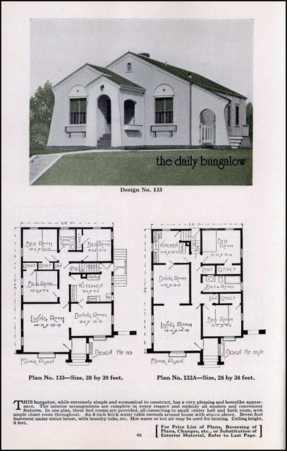 Bungalow House Plans Plan Service Co Late twenties house