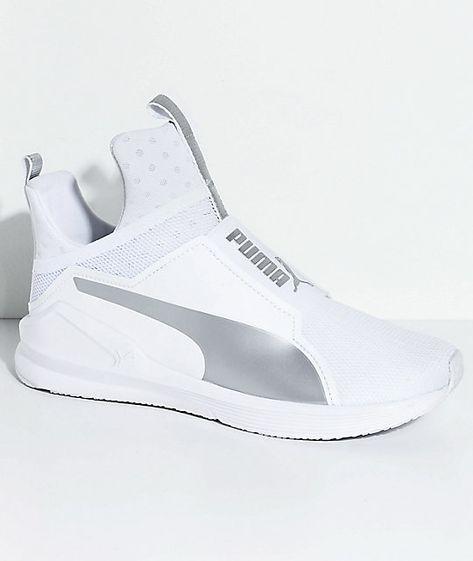3e5cbf10696 PUMA Fierce Core White   Silver Shoes