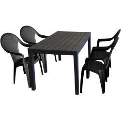 5tlg Gartenmobel Set Gartentisch Kunststoff Anthrazit 138x78cm Holzoptik 4x Stapelstuhl Giglio Products Ideal Fur Balkon In 2020 Picnic Table Decor Table