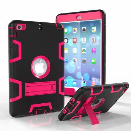 For iPad Mini 4 Hybrid Rugged Black Cover Hot Pink /& Black Shock Case