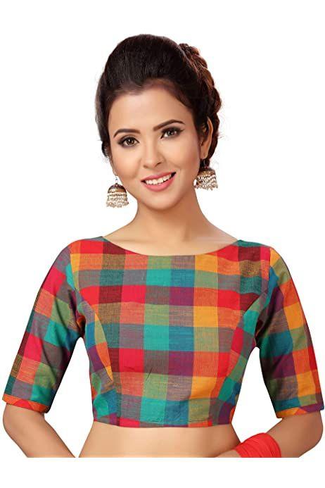 Pure Cotton New Readymade Blue Block Printed Blouse Designer Wedding Party Saree Choli Top Tunic Sari Boat Neck