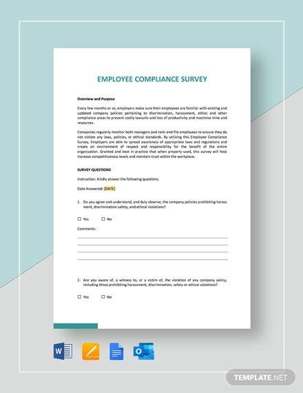 Employee Compliance Survey Template Word Doc Apple Mac Pages Google Docs Outlook Survey Template Survey Template Word Word Doc