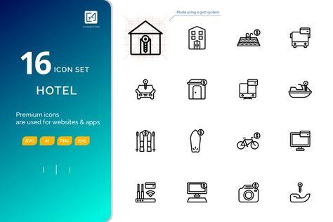 Icon set RENTAL outline style (127867)   Icons   Design Bundles