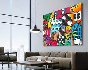 Pop Art Graffiti Style Original Painting Prints By Kfirtager Pop Art Canvas Graffiti Wall Art Pop Art Painting