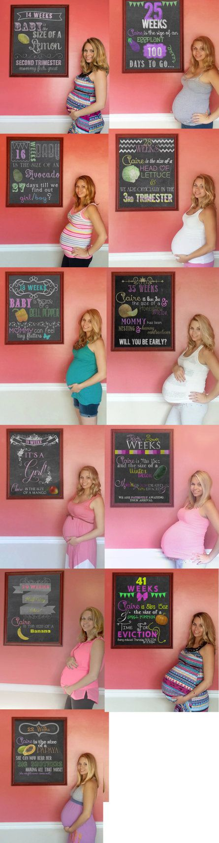 6 weeks - 40 weeks - Custom Weekly Pregnancy Chalkboard Updates  by CayteeRoseDesigns - VARIOUS AFFORDABLE PACKAGES! ---- ♥ --- It's so easy too! ---- ♥ ---  Each week you take a picture of yourself standing next to or holding ANY picture frame in your house. She photoshops the inside of the frame into a chalkboard and add the information of the baby for that week (name and size) and adds ANYTHING CUSTOM you would like it to say! Usually 24 around turn out too!! This is A MUST for any…