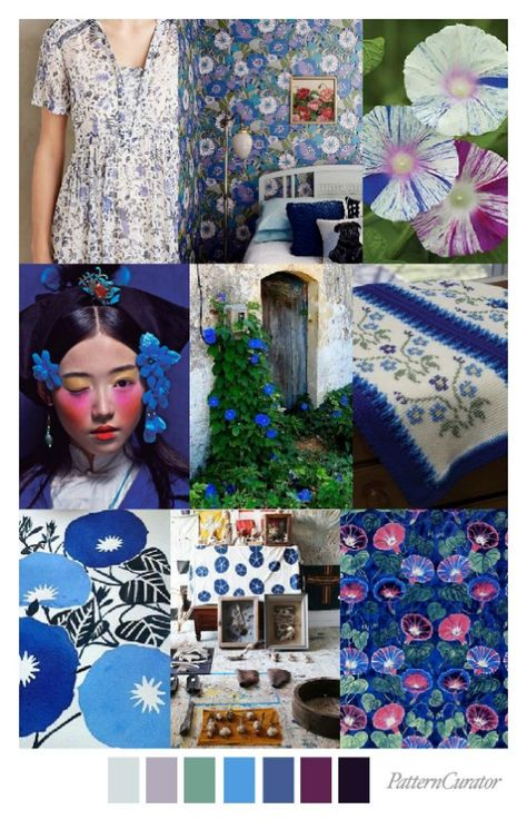 MORNING GLORY – Pattern Curator - gorgeous mood board and a color palette of blues and purples