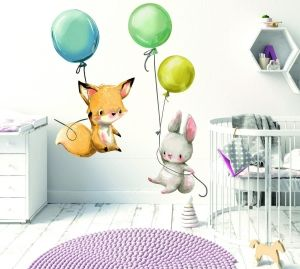 Naklejka Na Sciane Zajaczek Balonik I Lisek Hit Baby Room Furniture Baby Room Baby Mobile