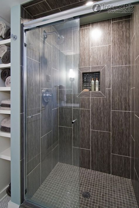 Vertical Mosaic Tile in Shower | Black tile effect bathroom cut decoration effect diagrams. Modern ...