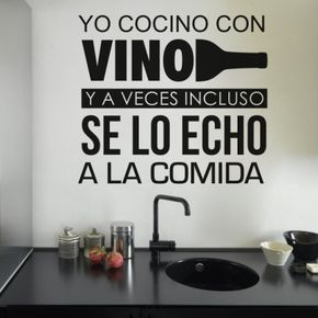 Vinilo Decorativo Cocinando Con Vino Frases Frases Para