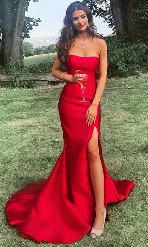 62251fd1e231 2019 long prom dresses, strapless mermaid red by MeetBeauty on Zibbet