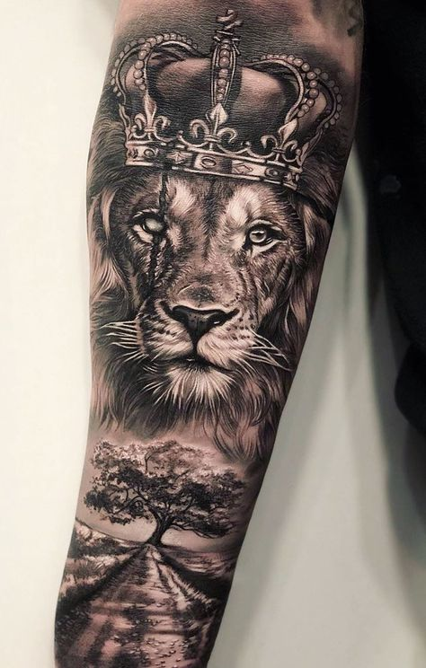 50 Eye-Catching Lion Tattoos That'll Make You Want To Get Inked – tattoo sleeve men Lion Forearm Tattoos, Lion Head Tattoos, Mens Lion Tattoo, Tattoos Arm Mann, Forearm Tattoo Men, Arm Tattoos For Guys, Lion Arm Tattoo, Lion Tattoos For Men, Cool Guy Tattoos