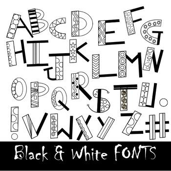 Fonts Fun Black And White Doodle Alphabet Clip Art By Casey Lepke Doodle Alphabet Cool Lettering Hand Lettering Alphabet