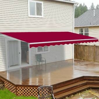 10 Ft W X 8 Ft D Fabric Retractable Standard Patio Awning In 2020 Outdoor Patio Decor Patio Awning Patio Decor