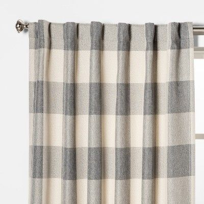 52 X84 Larkhall Plaid Blackout Window Curtain Panel Gray Cream