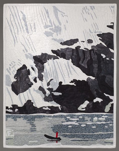 "Keeping Perspective, 24.5 x 31.5"", Antarctic landscape quilt by Judy Warner"
