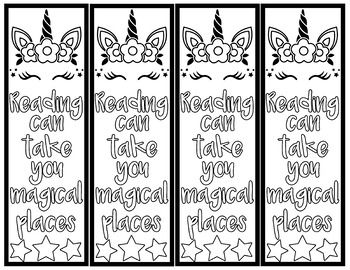 Unicorn Color Your Self Bookmarks Bookmarks Kids Coloring