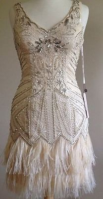 SUE WONG Gatsby Deco Champagne Beaded Feather Bridal Flapper Dress 6 NEW perfect for engagement party dress