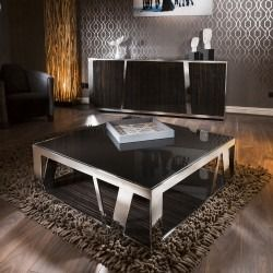 Modern Luxury Large Square Coffee Table Glass Ebony Stainless