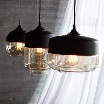 Set Hanglampen Zwart Glas Hanglampen Ceiling Lights Black