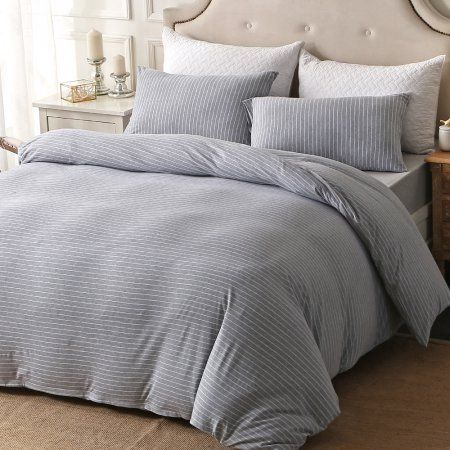 Pure Era Duvet Cover Set Ultra Soft Heather Jersey Knit Cotton Home Bedding Narrow Pinstripes Gray White Queen Size 1 Comforter Cover And 2 Pillow Shams In 2021