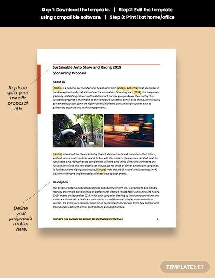 Automotive Sponsorship Proposal Template Free Pdf Word Apple Pages Google Docs Sponsorship Proposal Proposal Templates Sponsorship