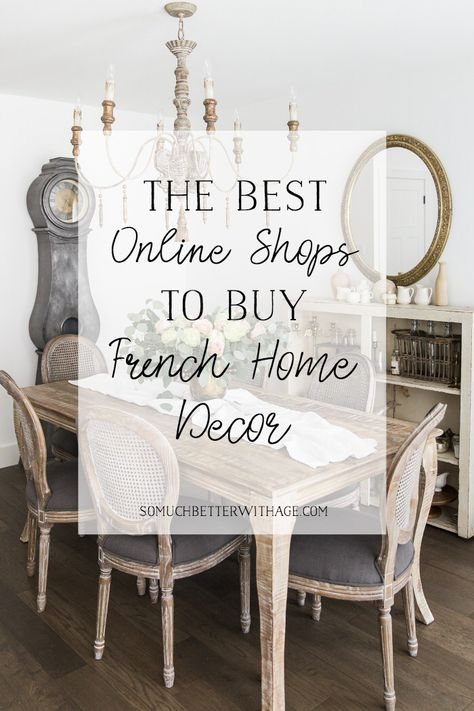 The Best Online Shops to Buy French Home Decor Finding French items for the home can be difficult and expensive. This list for finding the best online shops that carry French home decor is perfect! French Country Rug, French Country Furniture, French Country Bedrooms, French Home Decor, Country Farmhouse Decor, French Country Decorating, Modern Farmhouse, Modern Country, French Country Interiors