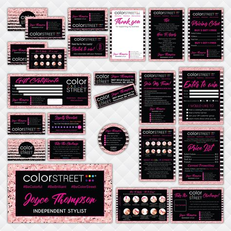 Color Street Marketing Bundle, Personalized Color Street Nail Cards CL198 - Full Kit 16 items / 48 hours