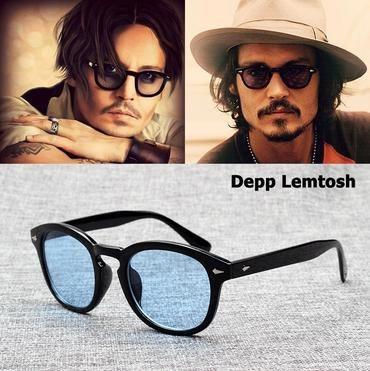 Retro round Johnny Depp sunglasses gray black polarized lens mens black glasses