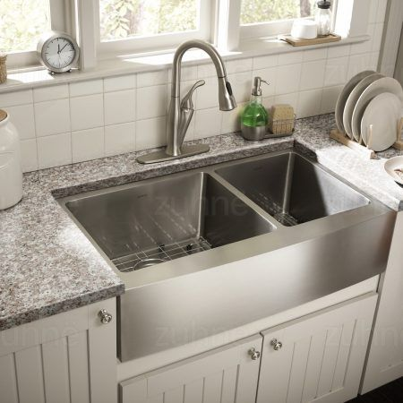 Zuhne 33 Inch Farmhouse Apron Front 60 40 Low Divide Stainless
