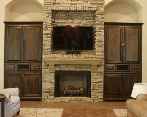 Recessed Tv Above Fireplace Flanked By Bookcases I Would