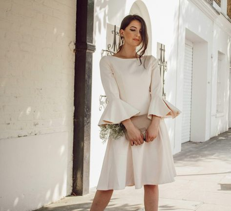 Champagne Midi Dress With Flared Sleeves | Metisu