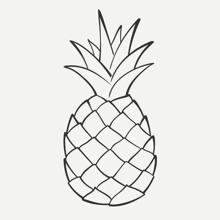 Outline Black And White Image Of A Pineapple In 2020 Ananaszeichnung Clipart Ananas Tattoo