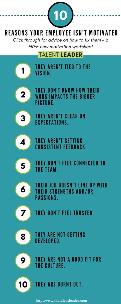 10 reasons why your employee isn't motivated - The Talent Leader