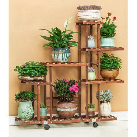 Outdoor Indoor Garden Wooden Plant Stand With Wheels Planter
