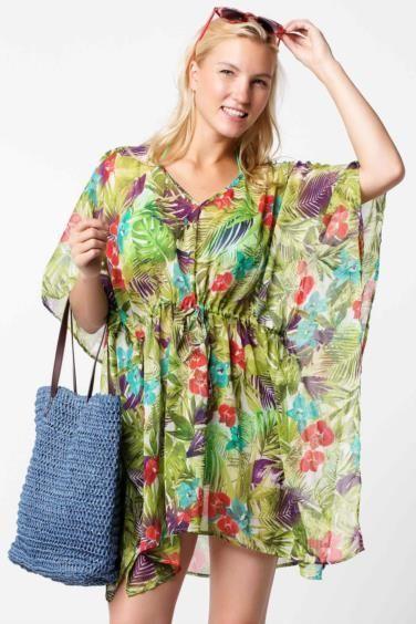 Sari Kadin Desenli Sifon Plaj Bluzu 325991 De Facto Moda Belas Modelos Moda Para Mulher