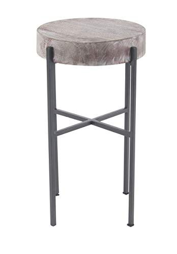 Deco 79 28812 Industrial Wood And Metal Round Side Table 12 Side Table Wood Industrial Wood Round Metal Side Table