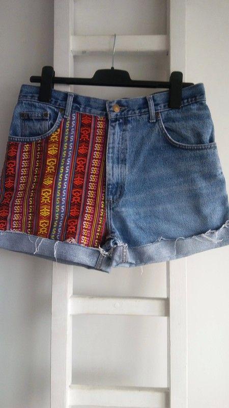 dde3a524b021ad Spodenki szorty jeansowe dżinsowe z wysokim stanem boho etno L hand made  denim diy - Jedyny