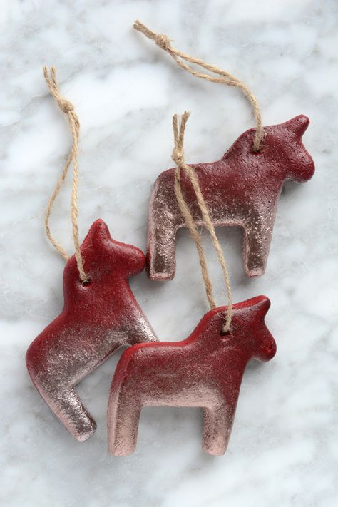 DIY Dala Horse Salt Dough Christmas Ornaments