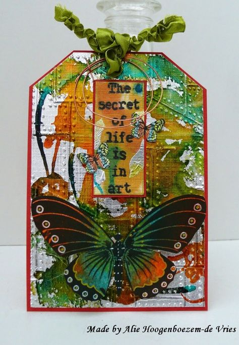 Tag with alu foil, alcohol inks and stamps, made by Alie Hoogenboezem-de Vries