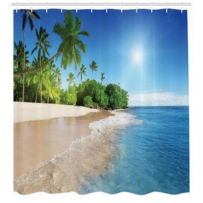 East Urban Home Ambesonne Blue Shower Curtain Ocean Tropical Palm