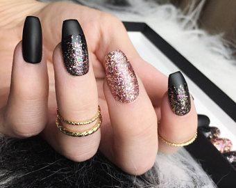Black Rose Gold Glitter Press On Nails Matte Fake Nails Ombre Pink Gold Glitter Handpainted Nail Art Black Gold Nails Gold Acrylic Nails Gold Nails