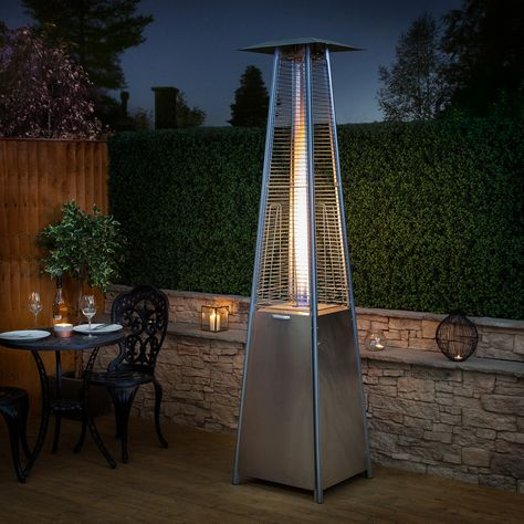 Stainless Steel Living Flame Gas Patio Heater Outdoor Heat Lamp Gas Patio Heater Propane Patio Heater
