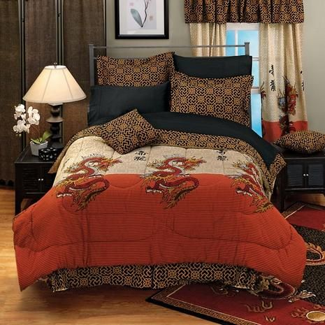 Celestial Dragon Comforter Set OrientalFurniturecom Room - Chinese dragon comforter set