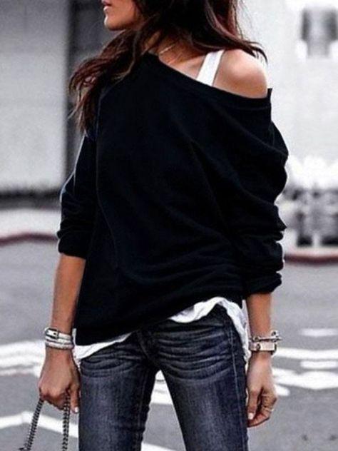 Black Asymmetric Shoulder Long Sleeve Fashion Pullover Sweatshirt