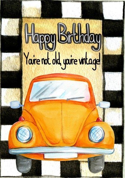 Geburtstags Gluckwunschkarte Mit Auto Auf Zielflagge Vintage