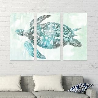 Artissimo Designs Soft Aqua Sea Turtle Canvas Wall Art 3 Piece Set 3 Piece Canvas Art Sea Turtle Decor Wall Canvas